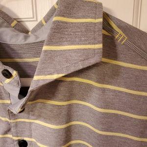Lululemon polo grey yellow stripe large